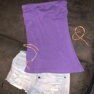 Small purple tube top w/ shelf bra